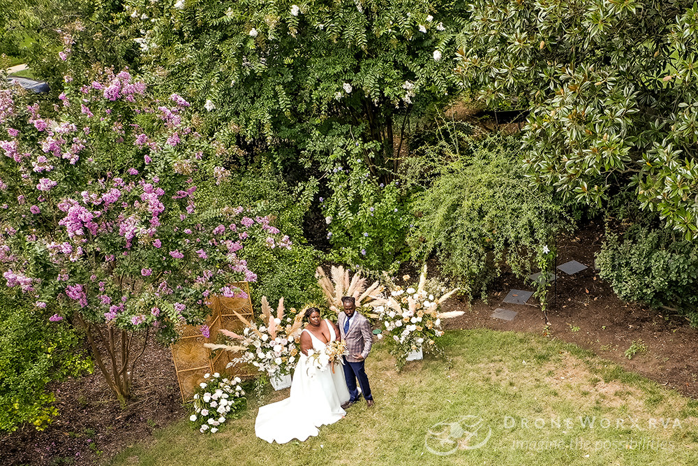 Aerial photo of a wedding