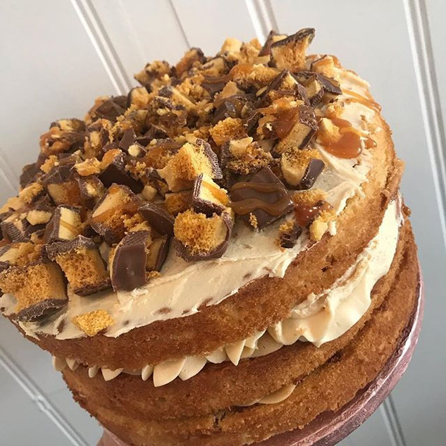 Caramel crunchie triple layer cake all r