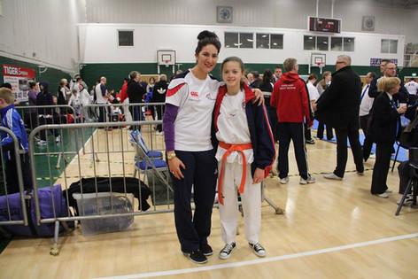 Nicole with Sarah Stevenson - Open International Poomsae & Sparring Championships - Nottingham 2014