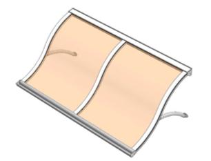 Pensilina policarbonato modello Fuoco