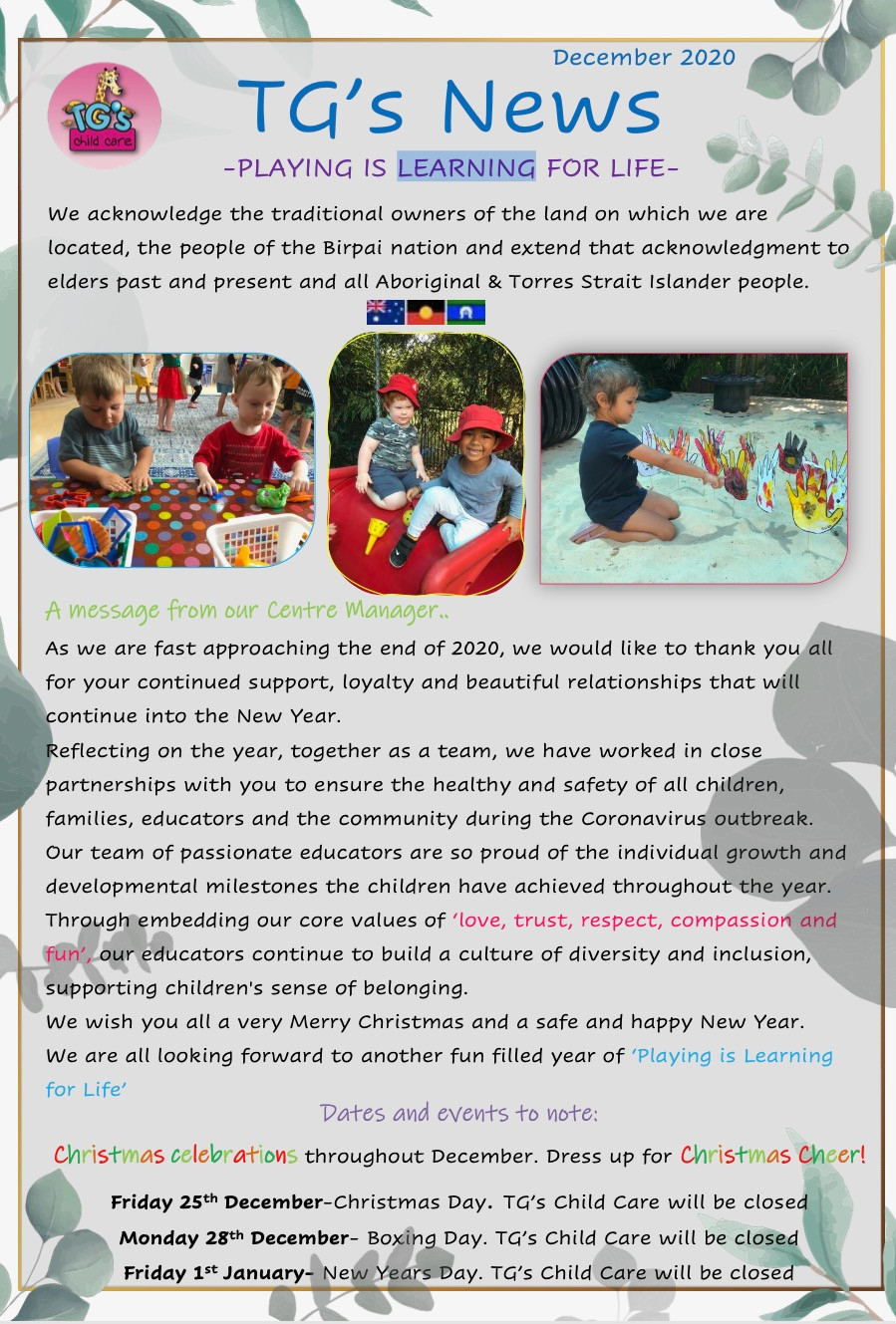 TG´s Child Care High Street December 2020 updates playing is learning for life through Christmas, summer and graduation