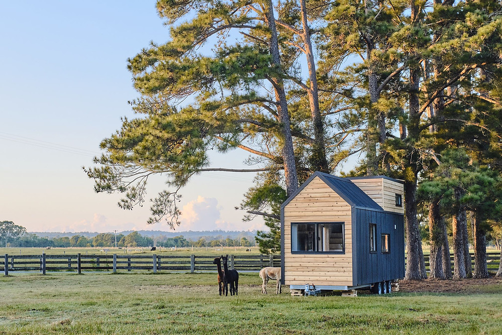 Hauslein Tiny House Co. outdoors with tiny house, featured on Brilliant-Online magazine