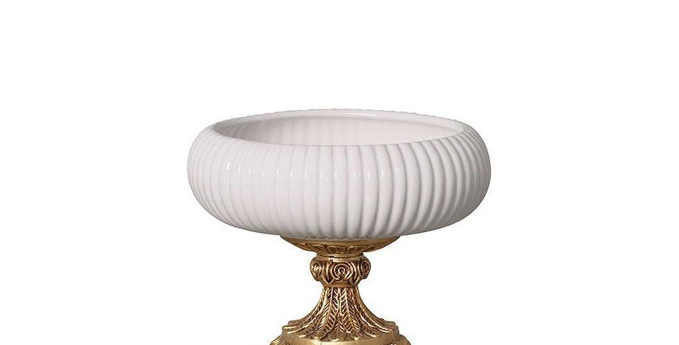 Vaso Ikebana Off White Pé Dourado