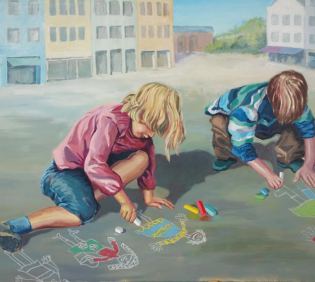 """""""Kinderspuren"""" 120 x 80 cm"""