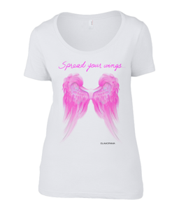 Pink Wings graphic white t-shirt