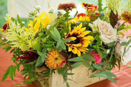Wooden Box Flower Arrangement