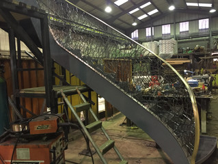 Burnished steel and Bronze balustrade in production