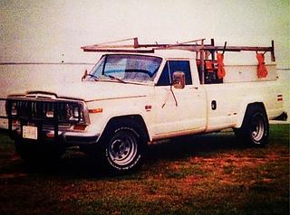 For years Hobbs Door Service used Jeep J-series trucks to get door into houses built on muddy lots.