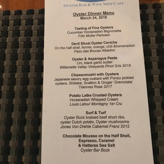 Oyster Dinner Menu