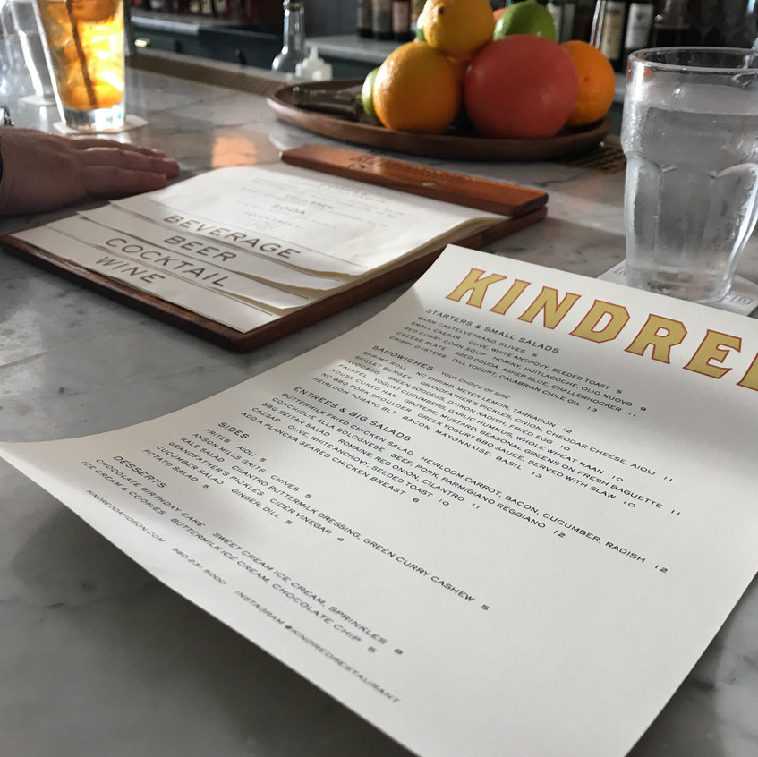 Today's menu for lunch at Kindred