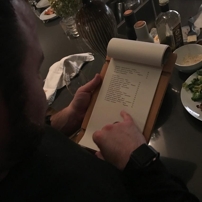 Matt and the Wine list