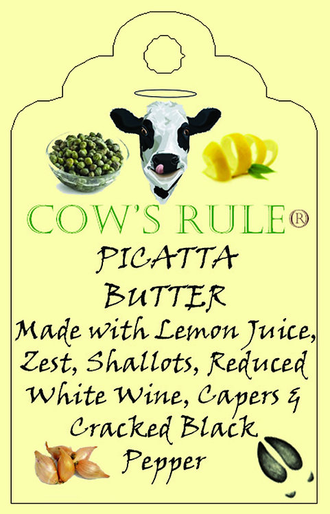 Chicken Picatta Butter ingredients with a happy cow face on a label