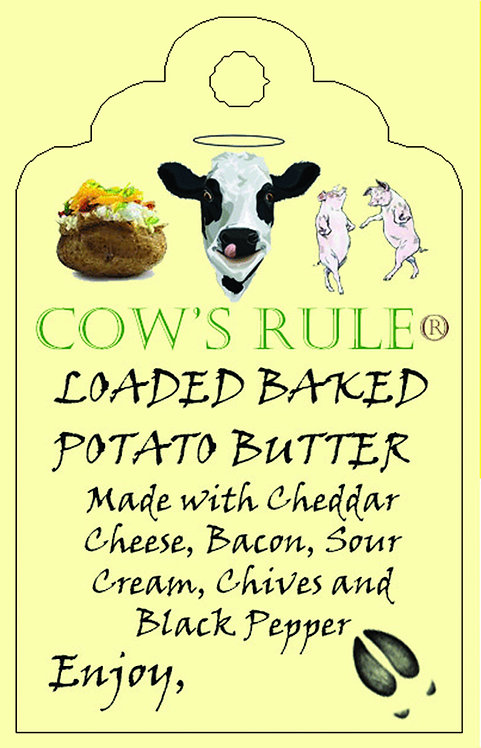 Loaded Baked Potato ingredients with a happy cow logo a baked potato and dancing pigs