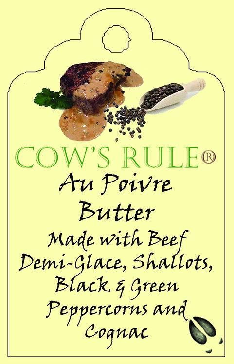 Steak Au Poivre Butter ingredients on a lable