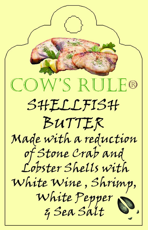Shellfish Butter Sauce ingredients with swordfish steak on a label