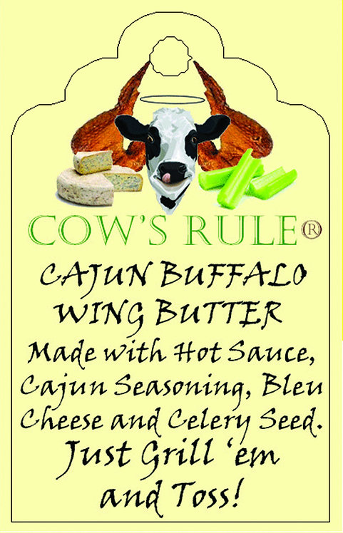 Cajun Buffalo Wing Butter with Frank's Red Hot Sauce ingredients on a label