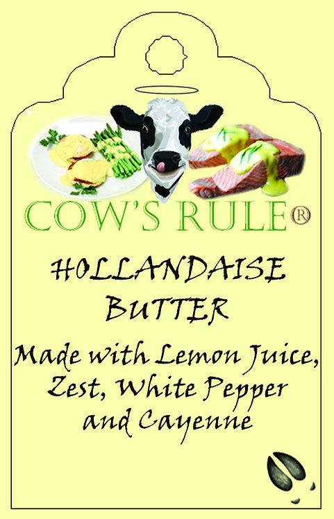 Hollandaise Sauce Butter ingredients for Eggs Benedict shown on a label with a happy cow face