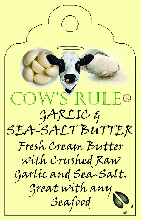 Garlic and Sea Salt Butter ingredients with Happy Cow logo