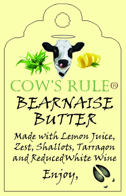 Bearnaise Sauce Butter ingredients on a label with a happy cow face