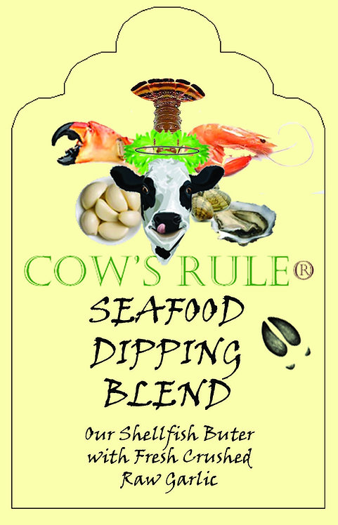 Shellfish Dipping Butter Sauce with fresh garlic ingredients with a happy cow face on a label