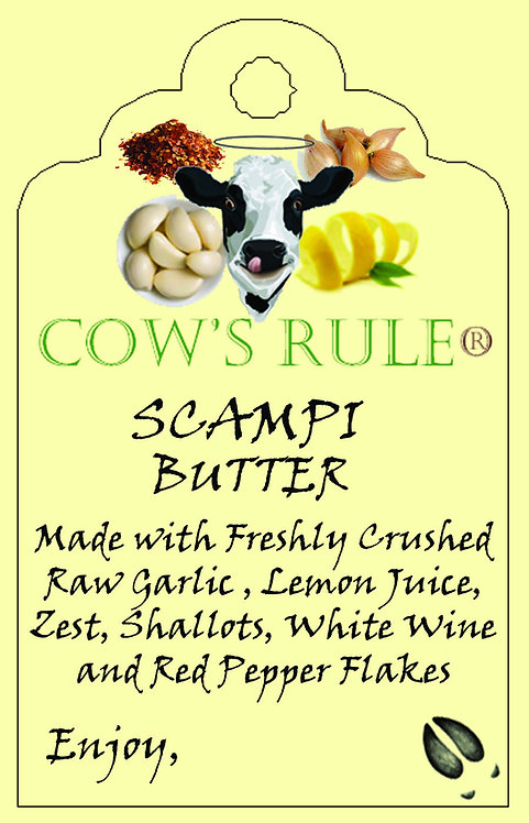 Shrimp Scampi Butter ingredients with a happy cow logo on a label
