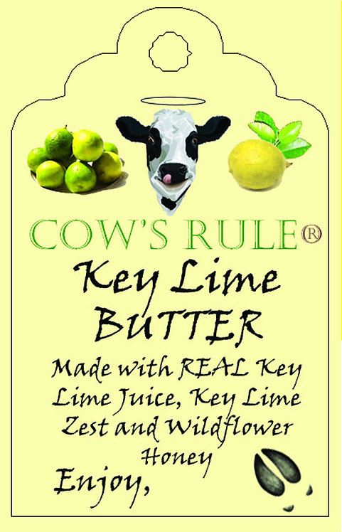 Key Lime Butter ingredients with a cow logo and key limes on a label