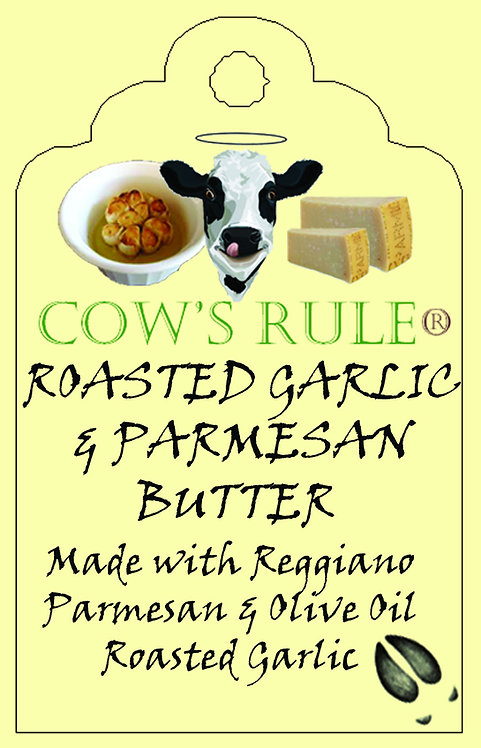 Roasted Garlic and Parmesan Butter ingredients with a happy cow face on a label