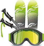 スキーアイテムのイラスト