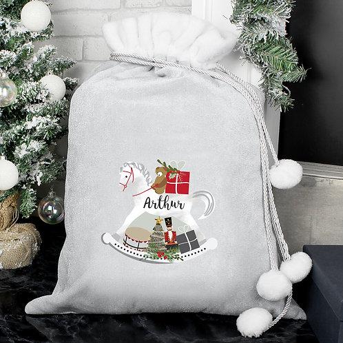 Personalised Rocking Horse Luxury Silver Grey Pom Pom Santa Sack