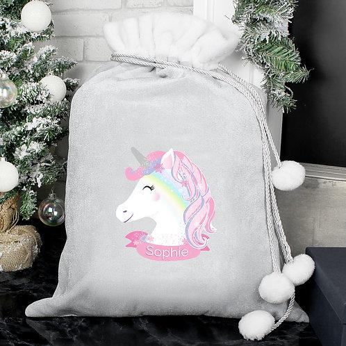 Personalised Christmas Unicorn Luxury Silver Grey Pom Pom Santa Sack