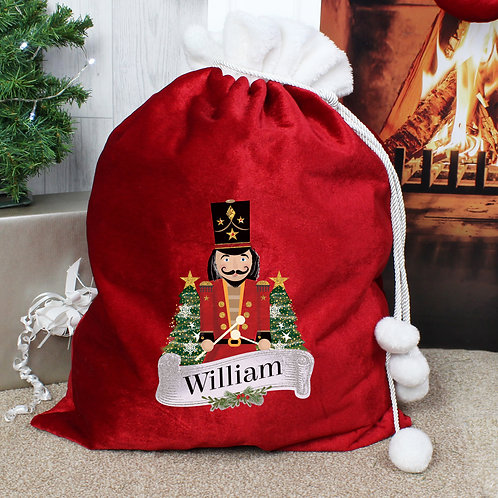 Personalised Nutcracker Sack in RED Luxury fabric with Pom Pom's