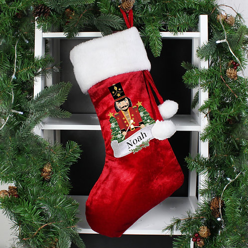 Personalised 'Nutcracker' Stocking in soft Red Luxury fabric with