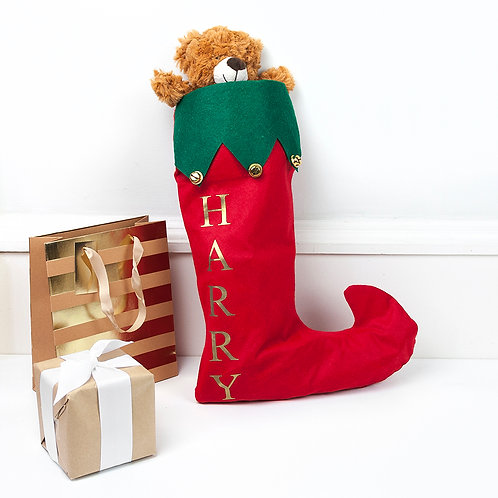 Personalised Festive Christmas stocking with bells