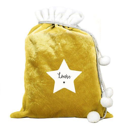 Personalised STAR Santa Sack in soft Gold Luxury fabric with Pom Pom's