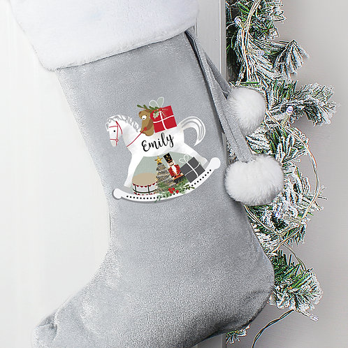 Personalised Rocking Horse Stocking in soft Grey Luxury fabric with Pom Pom's