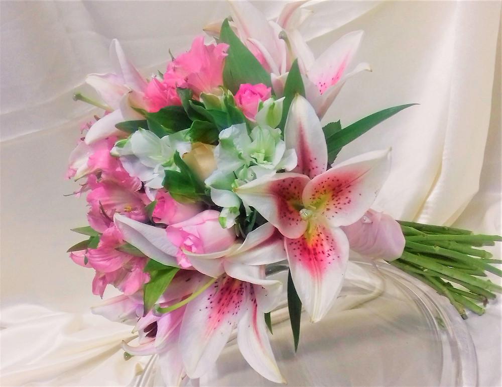 PC Creations Leeds Hand Tied Brides Bouquet / Alstroemeria and Lily.