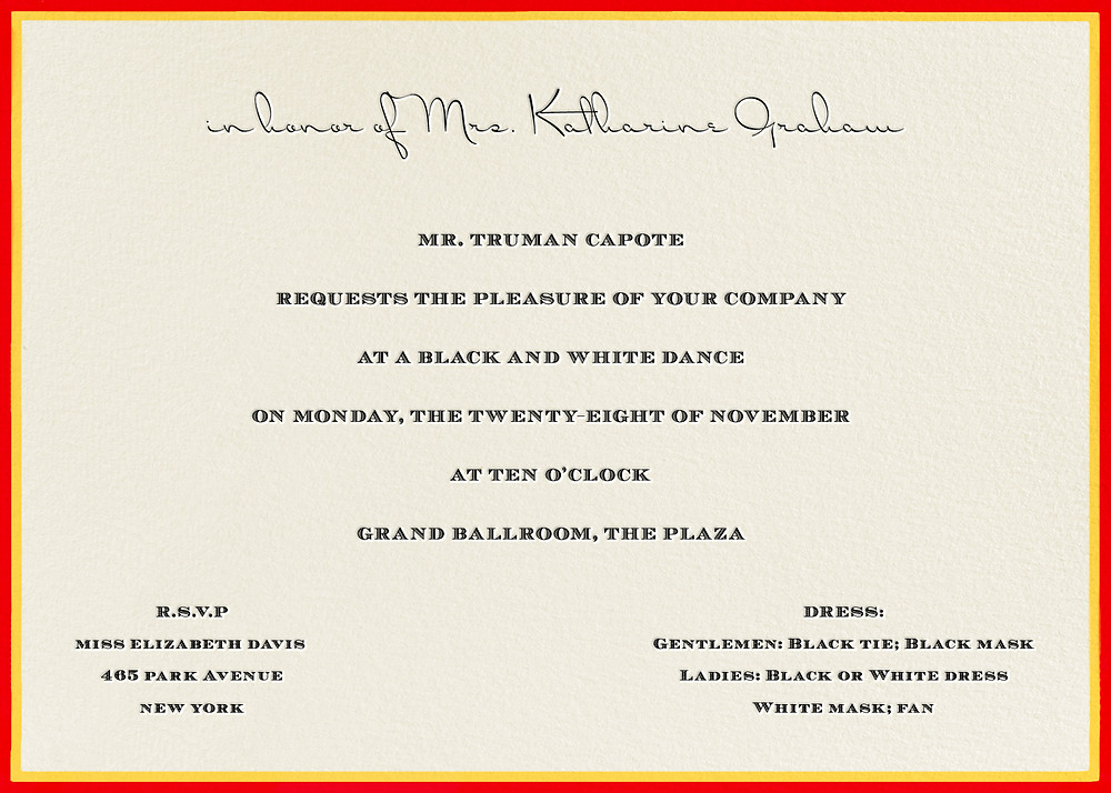 Invitation to Truman Capote's Masked Ball / Image from Pinterest