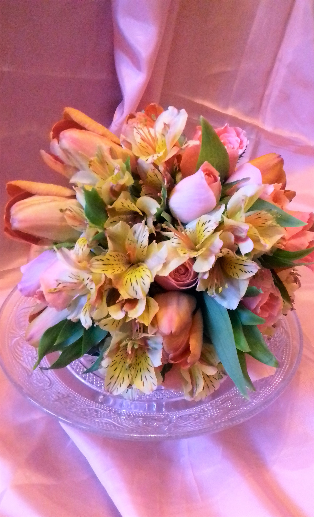 Tulip, Rose and alstroemeria Posy Bouquet by PC Creations Leeds