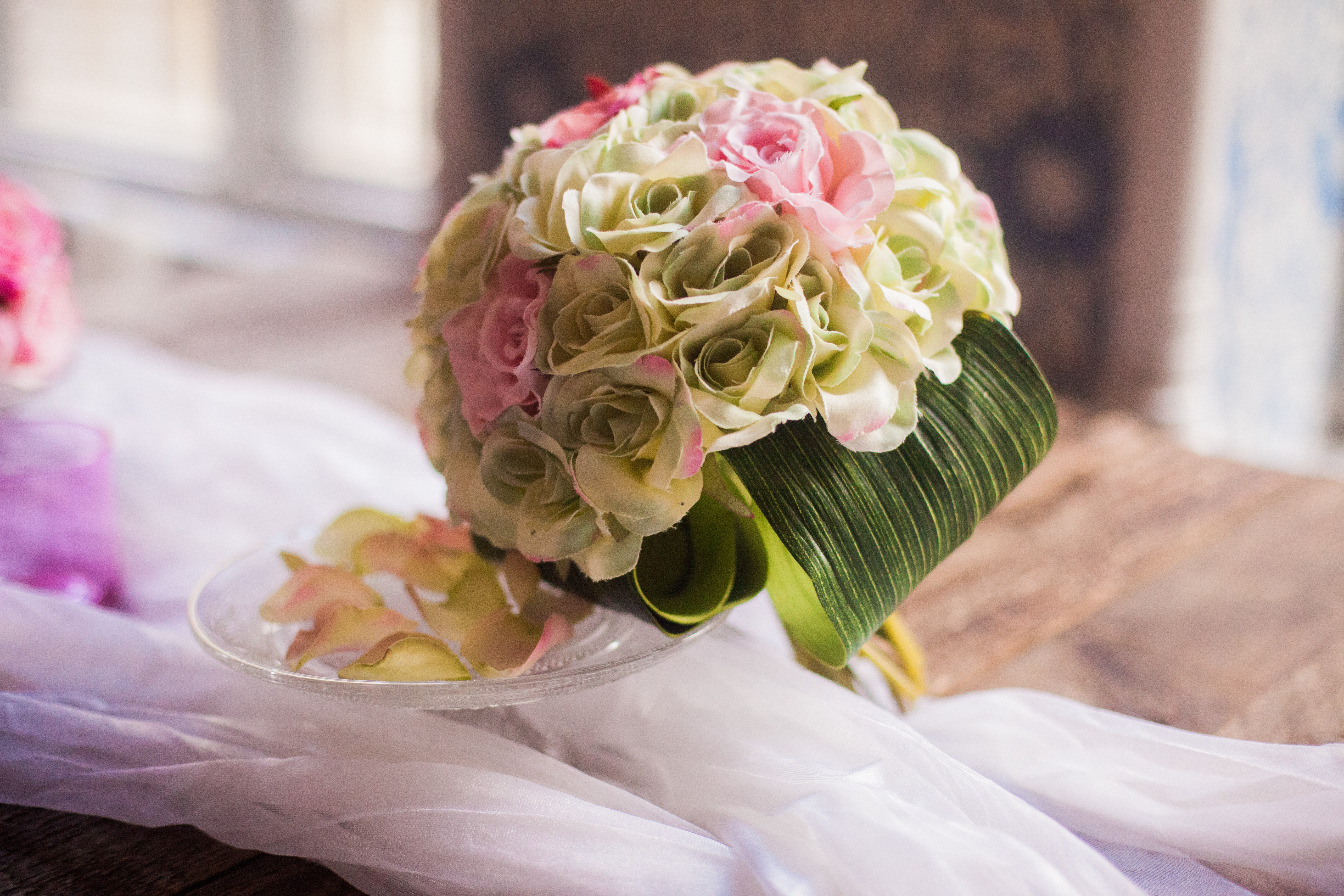 Pink and Mint Rose Bouquet