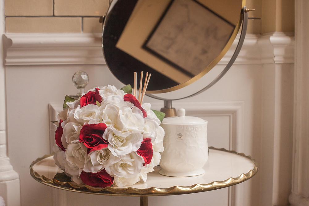 PC Creations Leeds Round Bouquet, Ivory and Red Roses