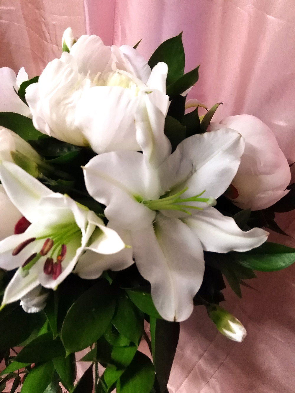 Wedding Bouquet white Peonies and Lilies