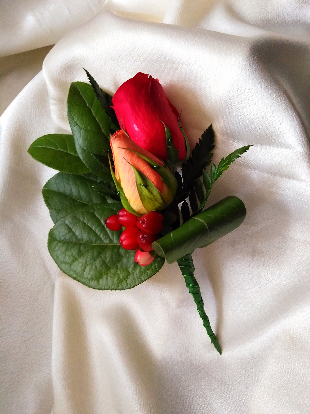 Red rose boutonniere by PC Creations Leeds
