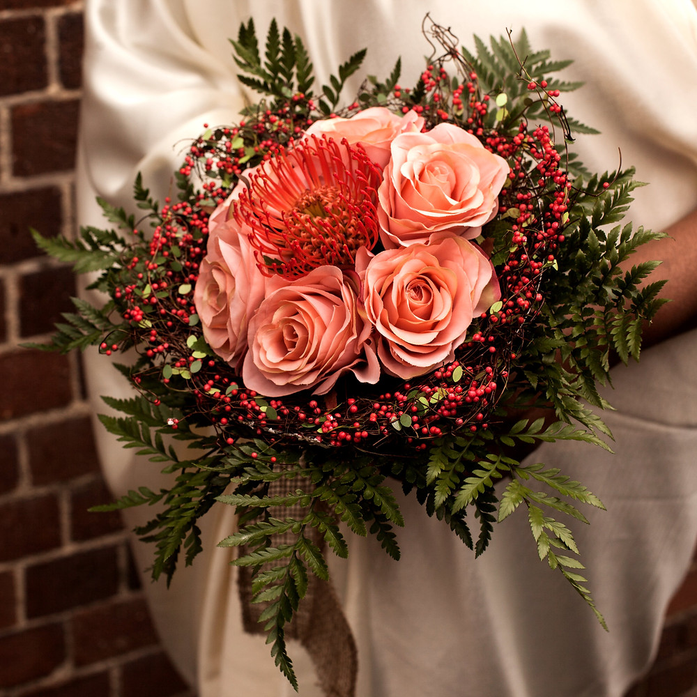 Brides Bouquet of Pin Cushion Protea and Faux  Peach Roses