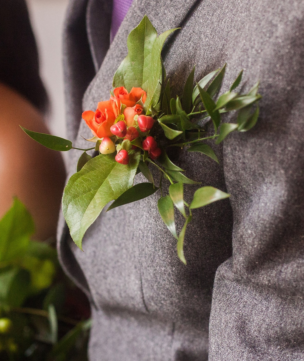 Buttonhole Orange Spray Rose and Red Berries