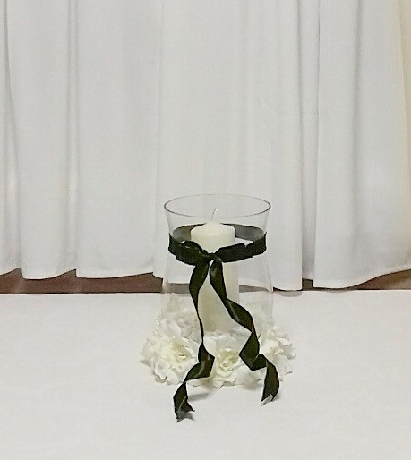 Hurricane Vase with Pillar Candle by PC Creations Leeds
