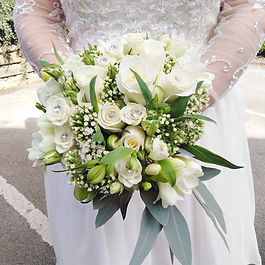Wedding Bouquet of Ivory Roses, Alstroemeria and Freesias