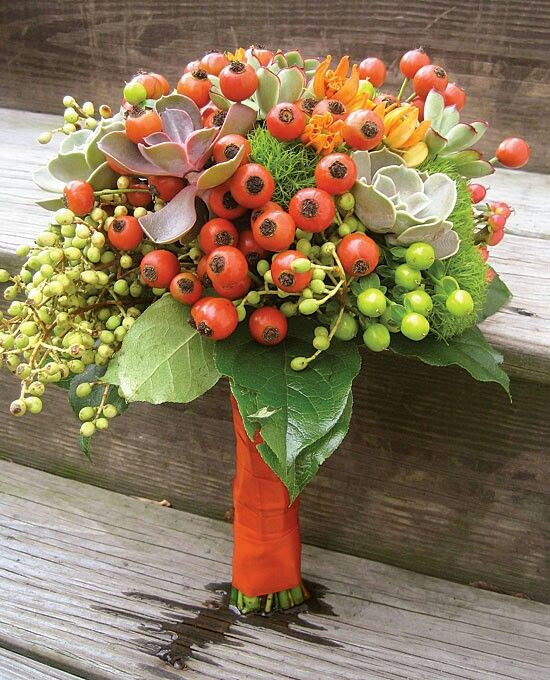 Berry bouquet which includes Orange Red Rosehip and Succulents. Image found on Pinterest