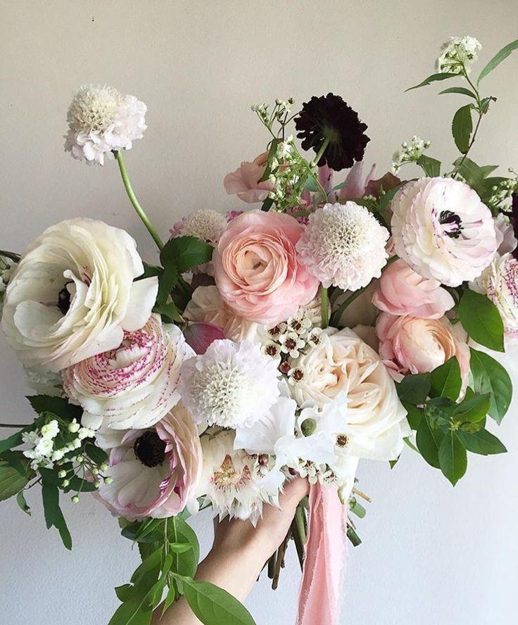 Ranunculus, rose and scabiosa bouquet. Pinterest image.