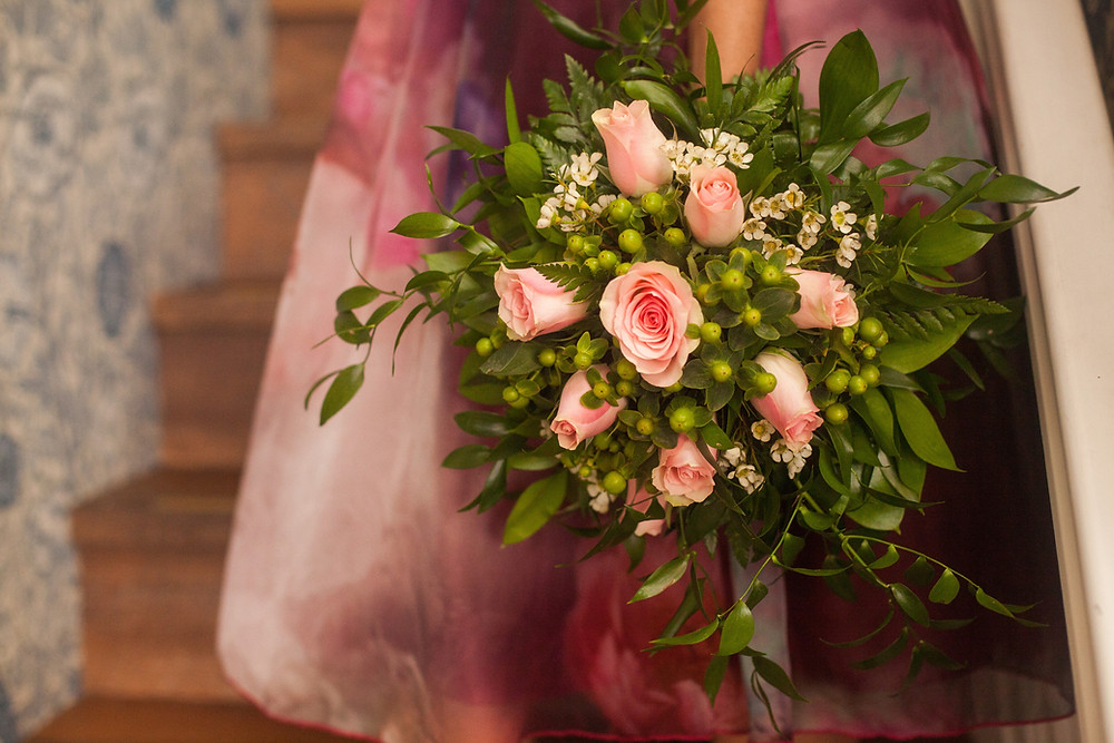 PC Creations Leeds Rustic Bouquet / Pink Roses and Green Berries