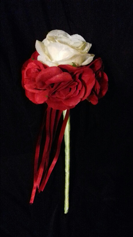 Bridesmaid Wand Red and White Roses by PC Creations
